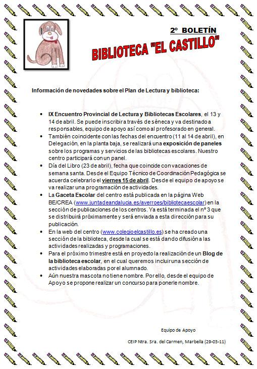 "2º Boletín Informativo ""Biblioteca el Castillo"""