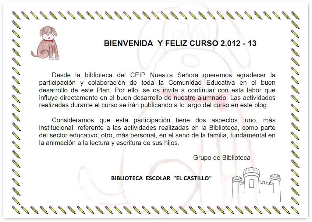 Bienvenida al curso 2012/2013