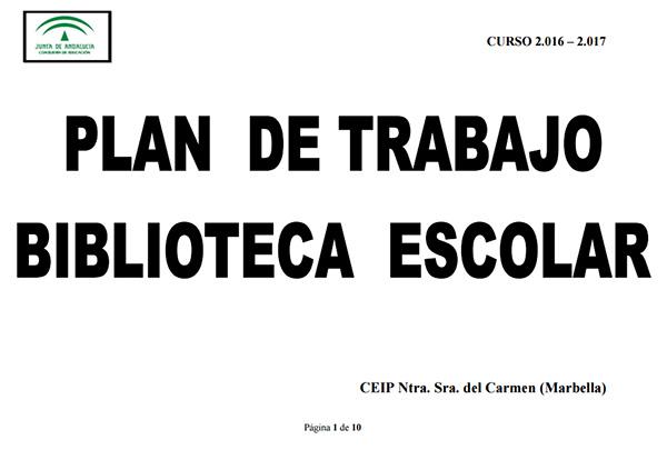 ACTUACIONES BIBLIOTECA ESCOLAR, 2.016-17