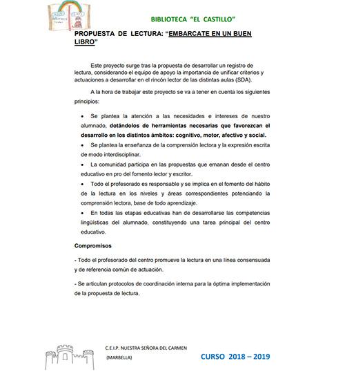 PROPUESTA DE LECTURA PARA EL CURSO 2018 - 19