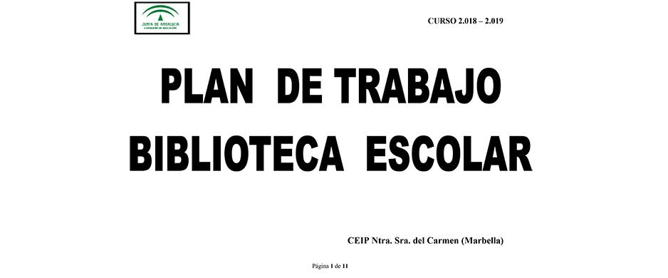 PLAN DE TRABAJO, CURSO 2018-19