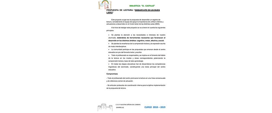 PROPUESTA DE LECTURA PARA EL CURSO 2018 – 19